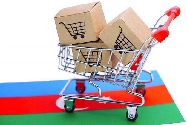Box with shopping cart logo and azerbaijan flag.