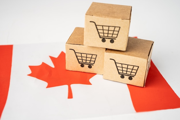Box with shopping cart logo and canada flag