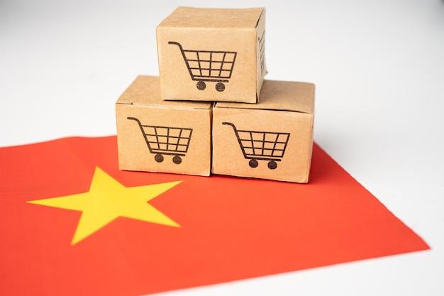 Box with shopping cart logo and china flag.