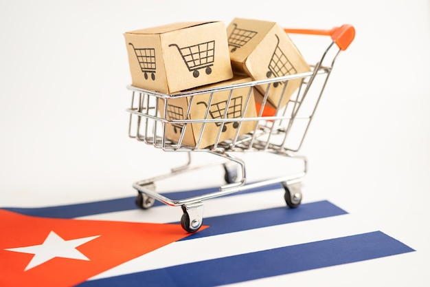 Box with shopping cart logo and cuba flag import export online