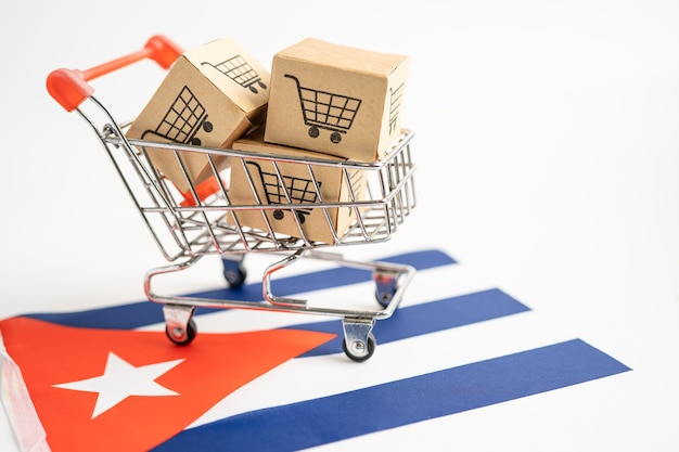 Box with shopping cart logo and cuba flag import export shopping online