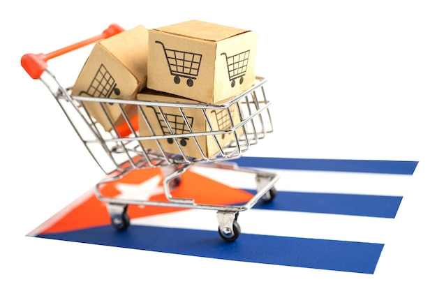 Box with shopping cart logo and cuba flag import export