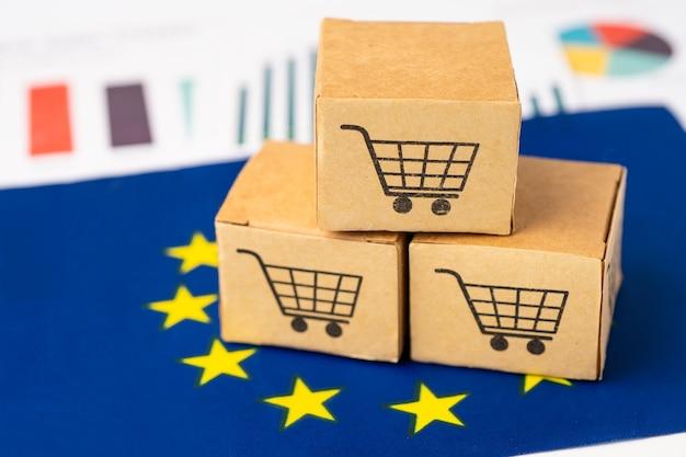 Box with shopping cart logo on eu flag