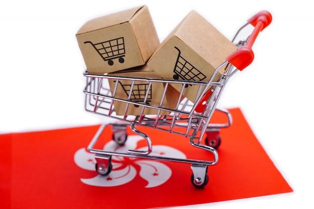 Box with shopping cart logo and hong kong flag.