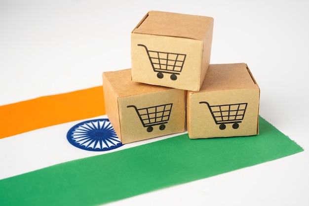 Box with shopping cart logo and india flag.