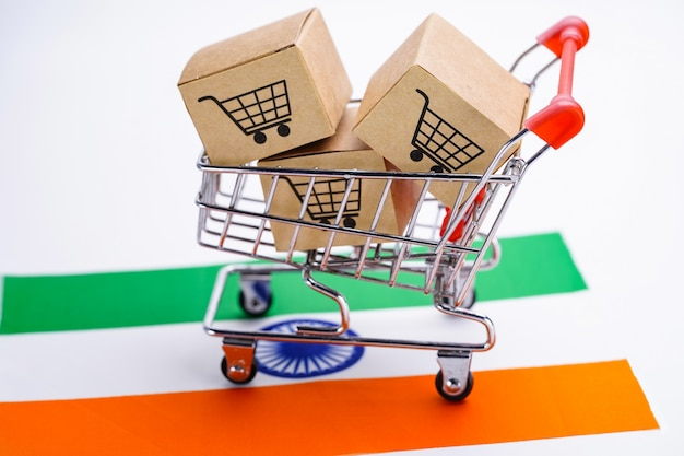 Box with shopping cart logo and india flag
