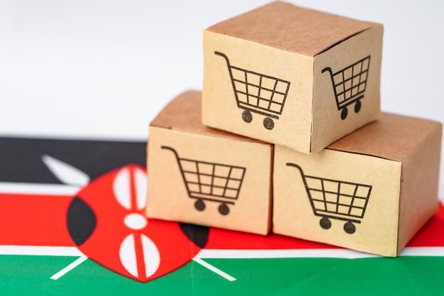 Box with shopping cart logo and kenya flag
