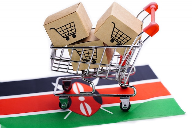 Box with shopping cart logo and kenya flag