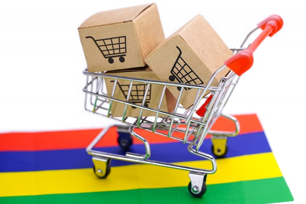Box with shopping cart logo and mauritius flag.