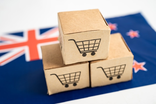 Box with shopping cart logo and new zealand flag import export shopping online