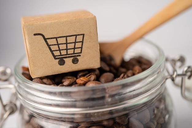 コーヒー豆にショッピングカートのロゴが入った箱。