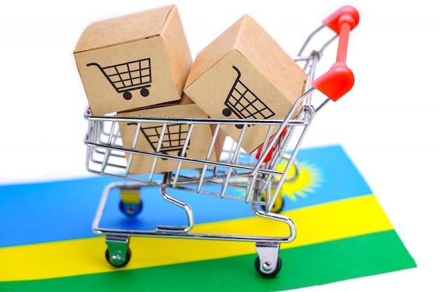 Box with shopping cart logo and rwanda flag.