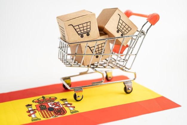Box with shopping cart logo and spain flag import export shopping online