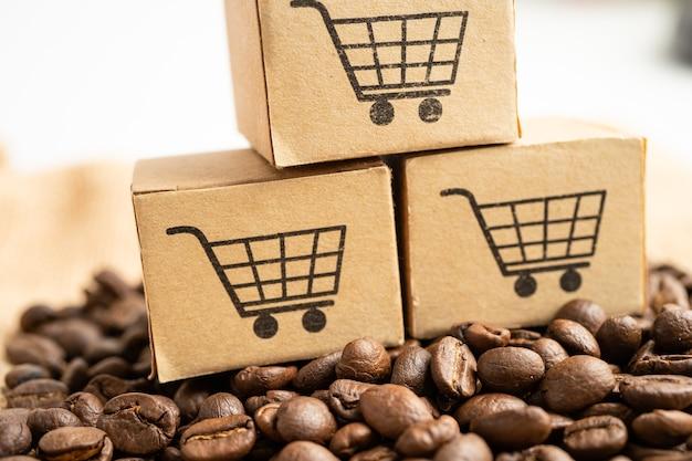 コーヒー豆のショッピングカートのロゴ記号が付いたボックスインポートエクスポートショッピングオンライン