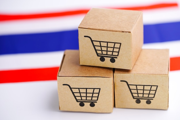 Box with shopping cart logo and thailand flag.