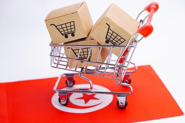 Box with shopping cart logo on tunisia flag.