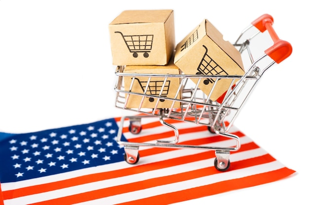 Box with shopping cart logo and usa america flag.