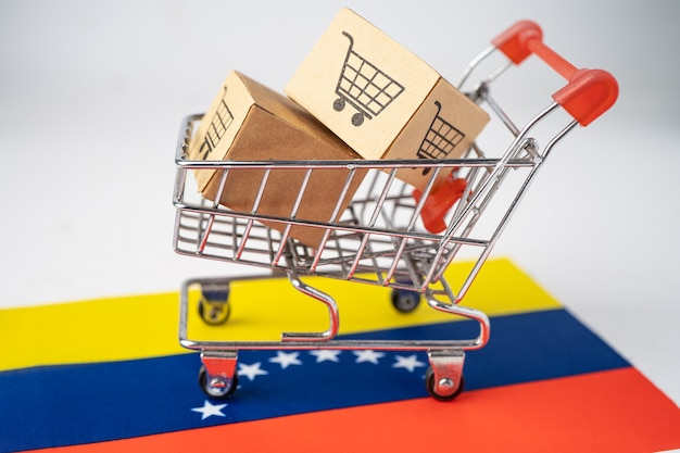 Box with shopping cart logo and venezuela flag.
