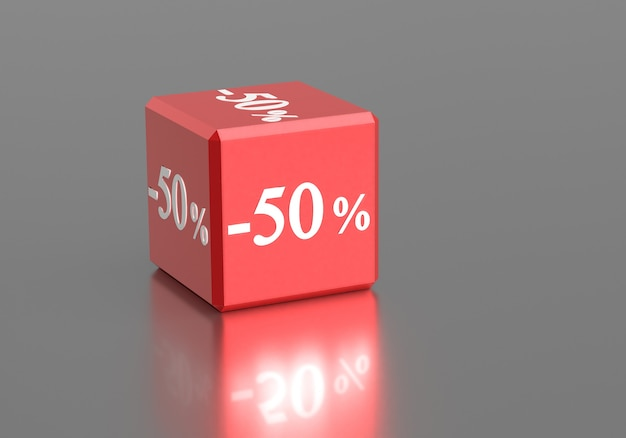 Box with words 50 percent off discount sale