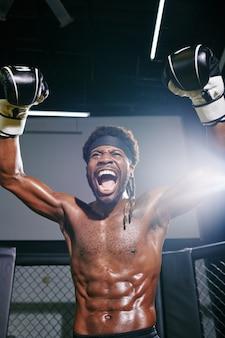 Boxer celebrating victory