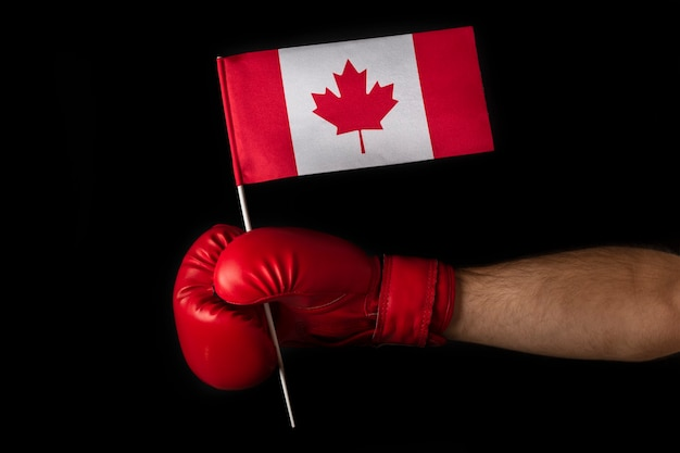 Boxer hand holds flag of canada. boxing glove with the canadian flag. black background.