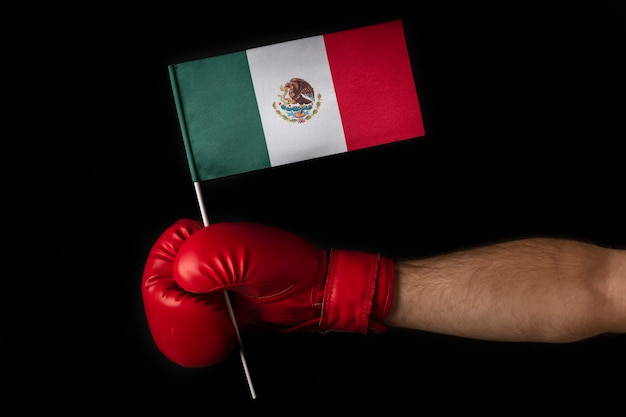 Boxer holds flag of mexico
