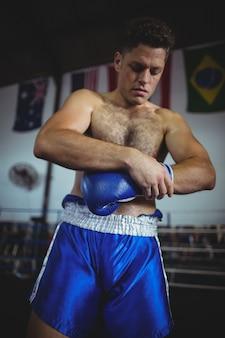 Boxer wearing boxing gloves