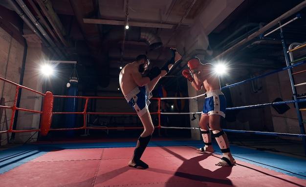 リングでトレーニングするボクサー