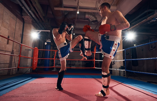 Обучение боксеров кикбоксингу на ринге в клубе здоровья
