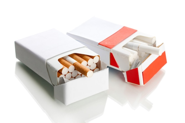 Boxes of cigarettes, on a white