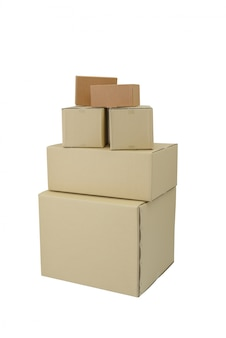Boxes in different sizes stacked boxes isolated on white