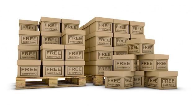 Коробки с надписью бесплатная доставка на поддонах. 3d визуализация