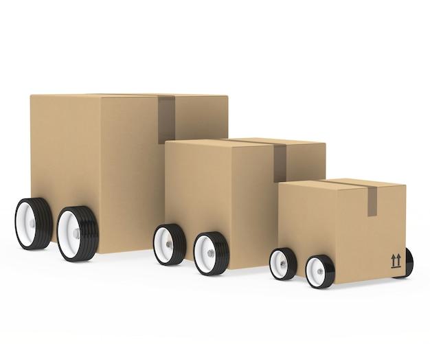바퀴가 달린 다양한 크기의 상자