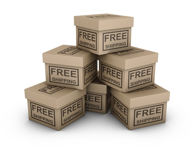 Boxes with the inscription - free shipping on a white background. 3d render