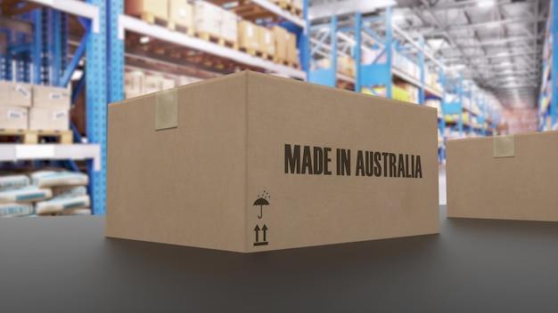 Коробки с надписью made in australia на конвейере. связанные с американскими товарами. 3d-рендеринг.