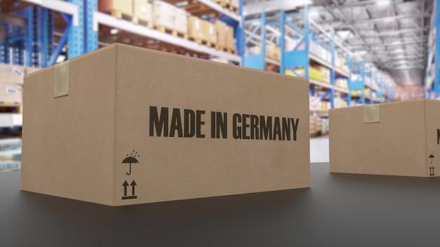 Коробки с надписью made in germany на конвейере. связанные с американскими товарами. 3d-рендеринг.