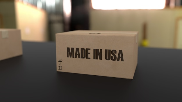 Коробки с надписью made in usa на конвейере. связанные с американскими товарами. 3d-рендеринг.