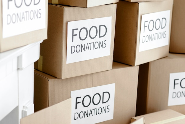 Boxes with provisions for donation