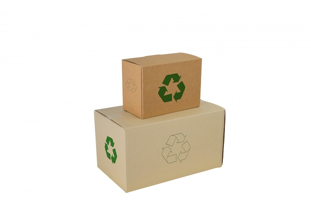 Boxes with recycle sign in different sizes stacked boxes isolated on white