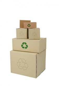 Boxes with recycle sign in different sizes stacked boxes isolated