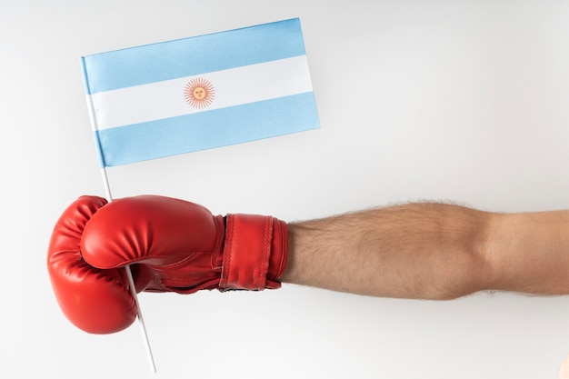 Boxing glove with argentina flag