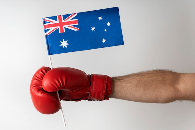 Boxing glove with australian flag