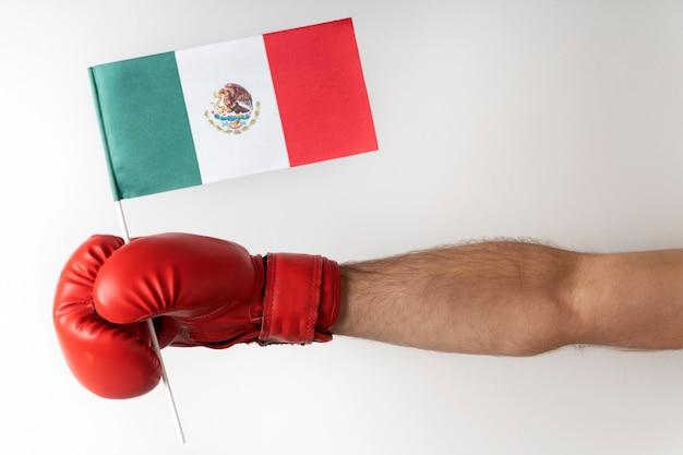 メキシコ国旗のボクシング グローブ。ボクサーはメキシコの旗を持っています。白い表面。