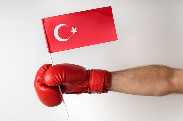 Boxing glove with turkish flag