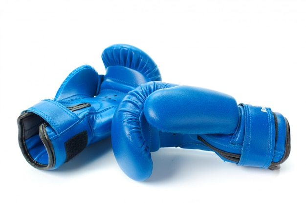 Boxing gloves close up isolated on white