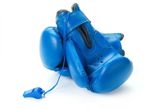 Boxing gloves close up on a white surface