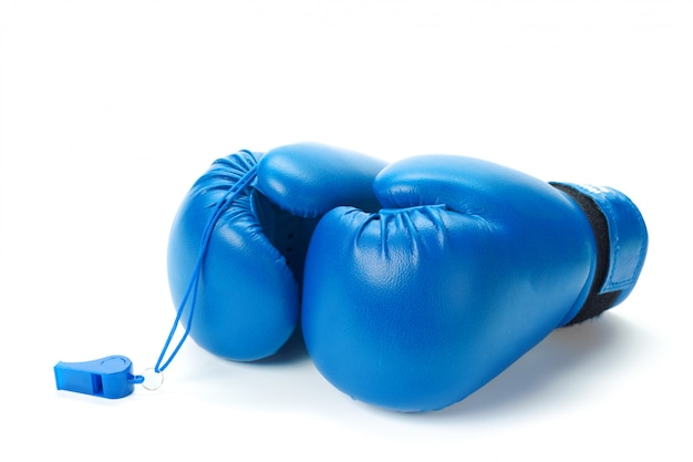 Boxing gloves close up on a white