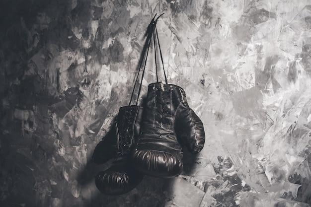 Boxing gloves on dark