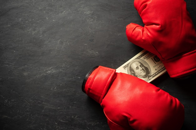 Boxing gloves holds the dollar banknote