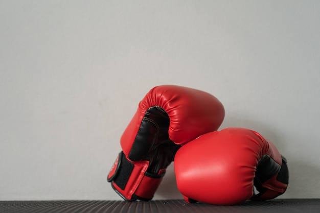 Boxing gloves with copy space for text.